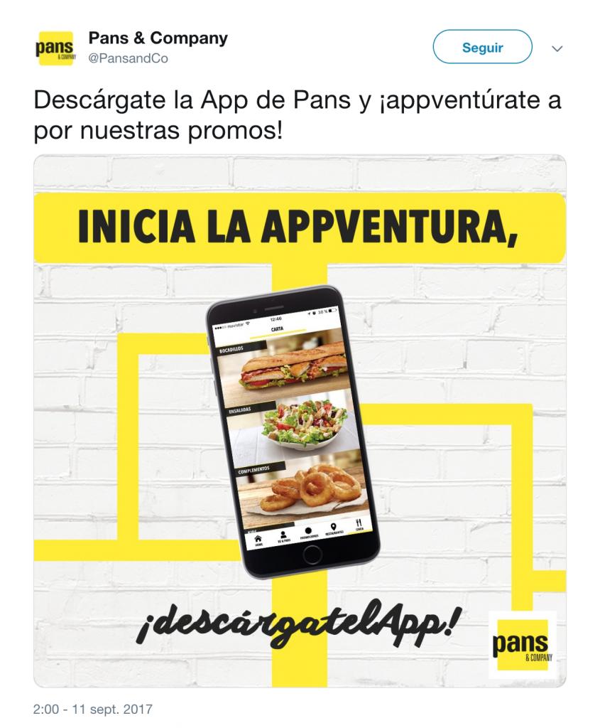 Descarga la aplicación de Pans & Company. Se muestra la aplicación y los colores corporativos de Pans