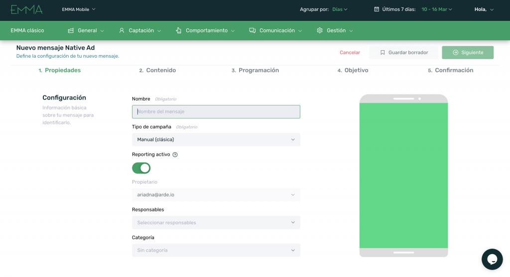 prisma nuevo formato in app emma